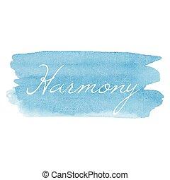 carte, vecteur, texte écrit, aquarelle, icône, main, dessiné, calligraphie, harmonie, fond, illustration, typographie, bleu