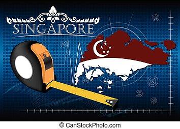 carte, vector., règle, singapour