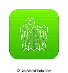 carte, vert, épingle, icône