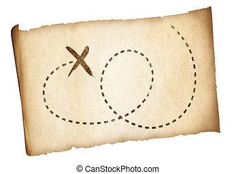 carte, vieux, pirates, simple, trésor, marqué, emplacement, sentier