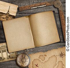 carte, vieux, sommet, trésor, agenda, compas, ouvert, vue
