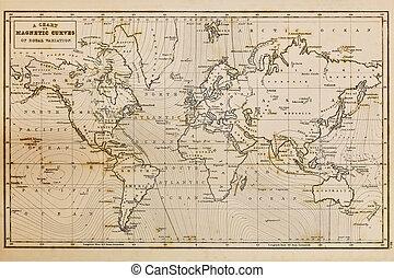 carte, vieux, vendange, main, mondiale, dessiné