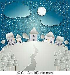 carte, village, noël, fond, neigeux