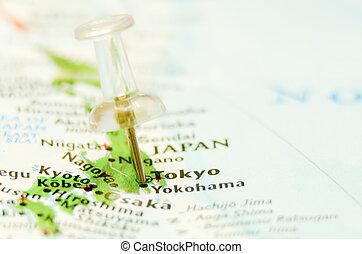 carte ville, épingle, tokyo