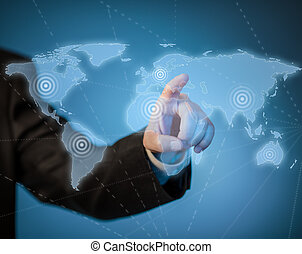 carte, virtuel, main, toucher, mondiale, homme