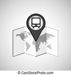 carte, voyage, autobus, emplacement, conception, concept, graphique