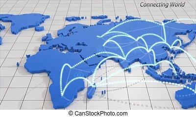 carte, voyage, autour de, animation, mondiale