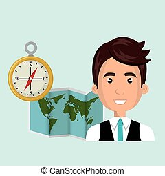 carte, voyage, global, homme, mondiale