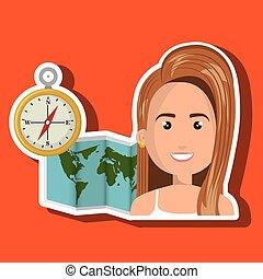 carte, voyage, global, mondiale, femme