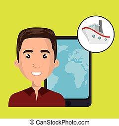 carte, voyage, homme, mondiale