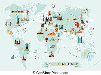 carte, voyage, icons., mondiale