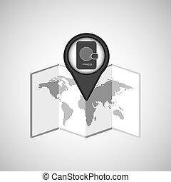 carte, voyage, passeport, emplacement, conception, concept, graphique