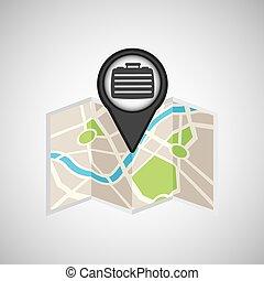 carte, voyage, portefeuille, emplacement, conception, concept, graphique