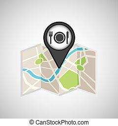 carte, voyage, restaurant, emplacement, conception, concept, graphique