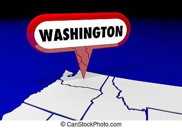 carte, wa, épingle, destination, washington, illustration, état, emplacement, 3d