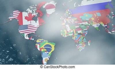 carte, zoom, mondiale, amérique, sud, 3d