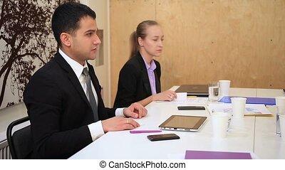 cartes, échanger, réunion, professionnels