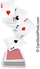 cartes, as, poker, jouer, pont