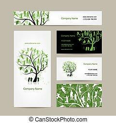 cartes, business, arbre, conception, famille