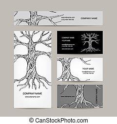cartes, conception, arbre, business, roots.
