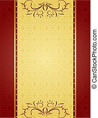 cartes, conception, fond, or, invitation