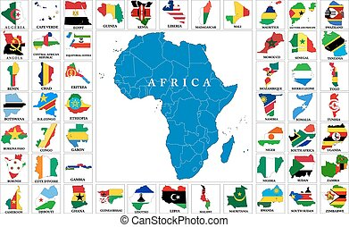 cartes, drapeau, afrique, pays