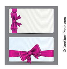 cartes, fuchsia, cadeau, bow.