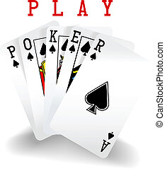 cartes, gagner, poker, jouer, main