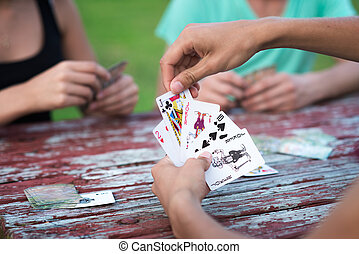 cartes, groupe, jouer, gens