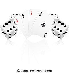 cartes, jouer, dés
