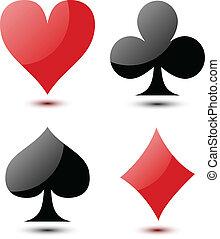 cartes, jouer, signe