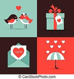 cartes, jour, amour, salutation, valentine