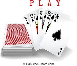 cartes, main poker, jouer, pont