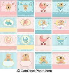 cartes postales, bébé, collection