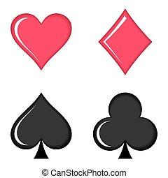 cartes, symboles, vecteur, jouer