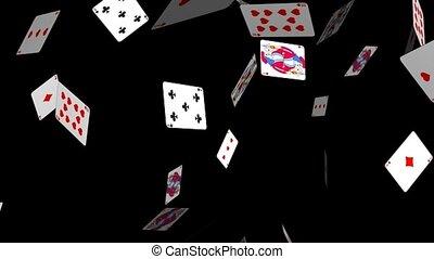 cartes, tomber, jouer