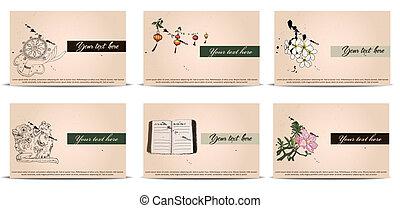 cartes, vendange, set., business