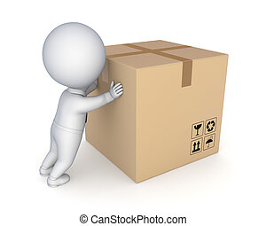 carton, box., personne, grand, 3d, petit