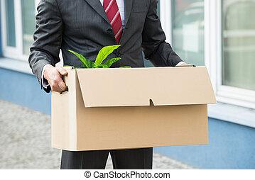 carton, tenue, personne affaires, gros plan