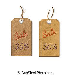 carton, vente, étiquettes, deux