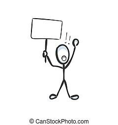 cartoon., banner., stickman, drawn., prostest, main, cri, croquis, illustration, boycottage, griffonnage, vecteur, demand., graphique, homme
