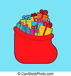 cartoon., ouvert, santa, dons, sac, vecteur, illustration, nouveau, noël, année