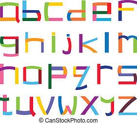 cas, alphabet, inférieur, coloré