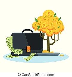 cas, arbre argent
