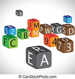 cas, chiffres, utilisé, langue, coloré, cubes, anglaise, illustration, numbers., fait, caractères, capital, alphabets, enseigner, enfants