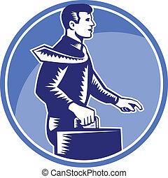 cas, marche, woodcut, attaché, porter, homme affaires, côté