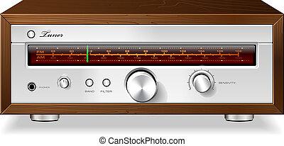 cas, stéréo, bois, vendange, vecteur, tuner radio, analogue