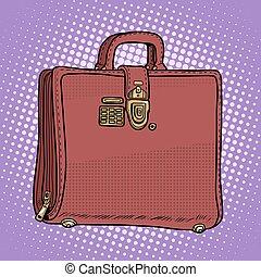 cas, style, business, sac cuir, homme affaires