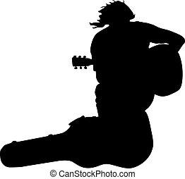 case., séance, joueur, il, vecteur, musicien, guitare, silhouette