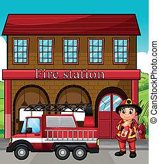 caserne pompiers, camion, pompier